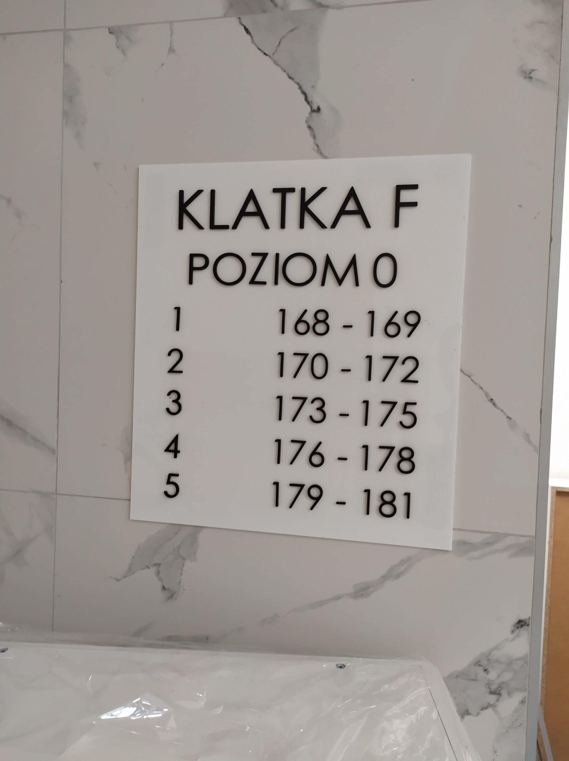 Tablica zbiorcza z plexi, oznaczenia pięter